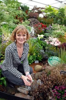 Samantha Bond visiting the Burncoose Stand at Chelsea 2012