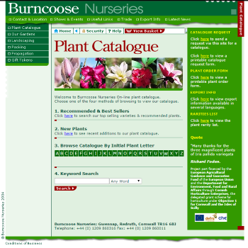 Burncoose website screen shot 2005